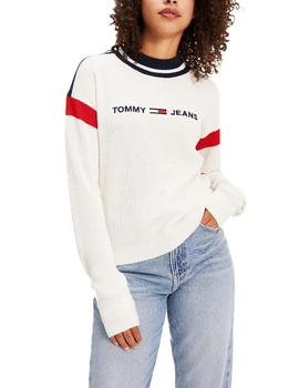 Jersey Tommy Jeans Colorblock blanco