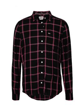 Camisa Tommy Jeans Fluid Check rosa