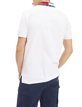 Polo Tommy Jeans Flag Neck blanco