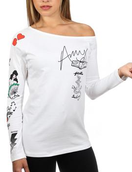 Camiseta Animosa Amy Tatoos blanco