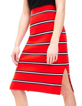 Falda Tommy Jeans Stripe Pencil rojo